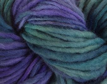 Purple Blue Green Bulky Chunky Weight Yarn Hand Dyed Single Ply Wool Yarn Pencil Roving in Sea Turtle 60 yards