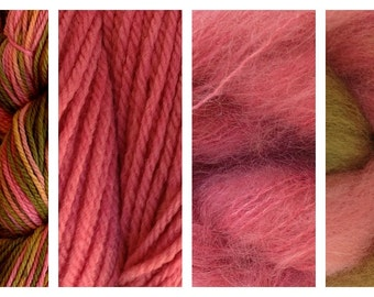 Hand Dyed Samples of Merino Wool DK Sport Weight Yarn in Prickly Pear Pink Olive