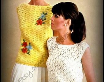 Crochet Sweater Pattern - 2 Pullover Shell Sweaters - Women Size 10 to 20 - PDF 75645