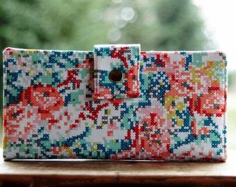 Womens clutch Wallet handmade custom clutch in a cross stitch floral
