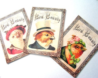 Victorian Bird Tags - Set of 9 - Gift Tags - Birds in Clothes - Vintage Birds - Thank Yous -  Animal Tags - Well Dressed Bird - Vintage Bird