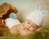 Priority shipping 1 to 3 days  Crocheted White Baby Easter Bunny Hat and Diaper Cover set