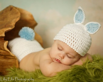 SUPER SALE  Ready to ship  Crocheted White Baby Easter Bunny Hat and Diaper Cover set