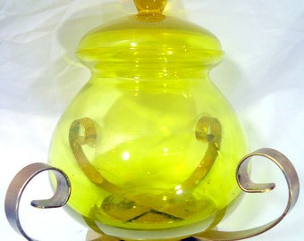 Mid Century Mod Yellow Glass Candy Dish with Metal Base