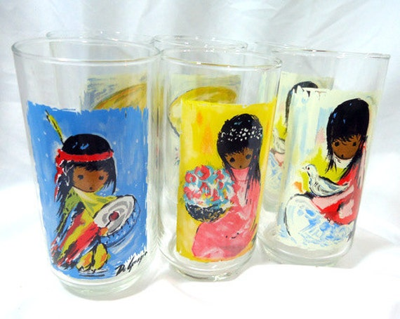 Reserved for Heather Wallace 1960s Vintage Southwestern De Grazia Drinking Glasses