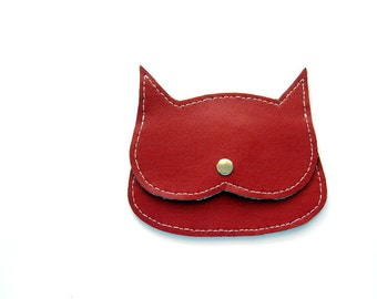 Red faux Laether  Cat coin purse, litle pouch, cat bag
