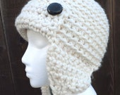 Crochet Aviator Ear Flap Hat in a Wool Blend  Winter White or Choose Color - Men Women - by Tejidos on Etsy Thick Chunky Beanie