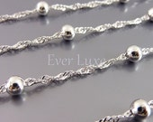 1 Meter helix shape 3mm satellite chains, beaded brass metal chains, chains for necklaces, bracelets, jewelry B078-BR