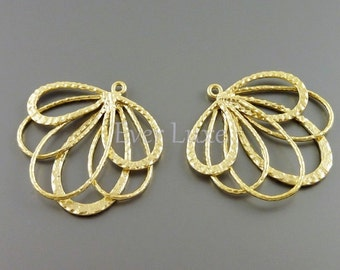 2 Feather pendants, matte gold brass, filigree jewelry pendants / necklace charms / jewelry making supplies 1239-MG (matte gold, 2 pieces)