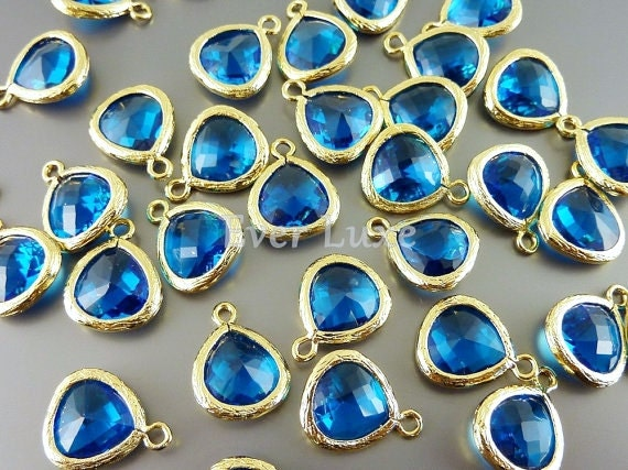 2 capri blue 10mm teardrops with gold bezel frame setting, glass beads, jewellery 5064G-CB-10 (bright gold, capri blue, 10mm, 2 pieces)