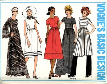 Vogue #2505 - Size 12 - Misses' Dress with Fitted Bodice and Pants - Vintage Pattern