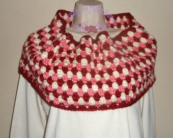Women's Crochet Cowl Granny Sripe red, pink, cream, cowl, crochet, neck warmer, scarf, scarlette, accessory, winter, winter wear