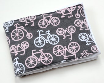 Baby Girl Burp Cloth Gift Bicycles, Burp Rag Cloth Diapers BurpCloths, Infant Shower New Mom Gift, Baby Item