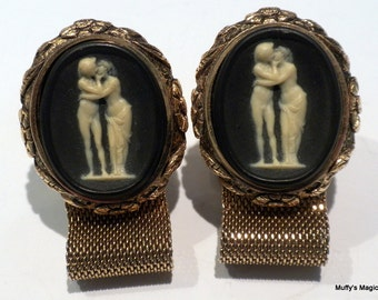 SALE Vintage Dante Black Incolay Cuff Links The Kiss Love Story