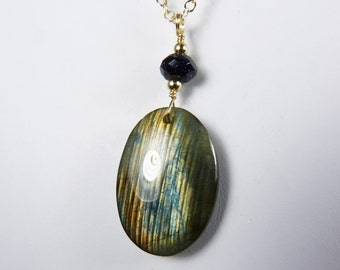 Labradorite Necklace,  Labradorite Pendant with Navy Blue, Pale Gold, and Coppery Brown Flash,  Faceted Navy Blue Goldstone, and Gold