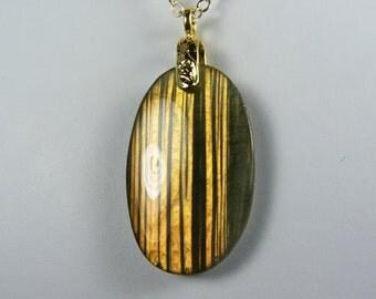 Labradorite Necklace, Large Reversible Labradorite Pendant with Brilliant Copper Flash on a Gold Chain