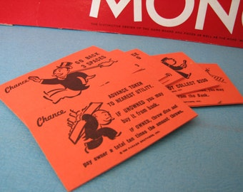 VINTAGE - Monopoly Chance Cards - 1974 Edition - Repurpose - Craft Use - REPLACEMENTS