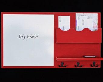 Message Center - Mail Organizer - Dry Erase - White Board - Key Hooks - Coat Hooks - Shelf