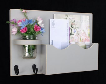Mail Organizer - Mail Holder - Letter Holder - Mail and Key Holder - Mail Sorter -Key Hooks - Mason Jar Vase