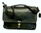 Coach Brief Case // Black Leather  Willis Crossbody Bag