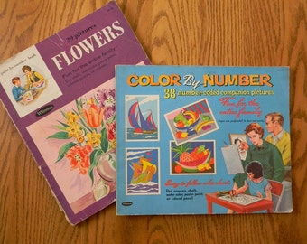 Set of Two 1960s Paint / Color by Number Books by Whitman