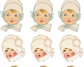 Vintage Style Hanger Babies Decals