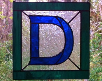 """Letter """"D"""" Initial CUSTOM Stained Glass Suncatcher Pick Your Own Colors Great Gift"""