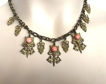 Lovely Brass Renaissance Coral Vintage Antique Ornate Charm Necklace
