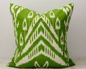 20x20, green ikat, green cushion, green pillow, ikat pillow cover, lime, ikat, uzbekistan ikat, accent pillow, throw pillow, decorative ikat