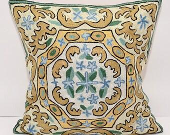 16x16. golden pillow. golden cushion. golden cream green handmade silk embroidery pillow cover