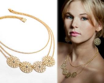 Gold statement necklace, Statement necklace, Gold necklace, Bib necklace statement, Bib necklace, Necklace statement, Gold bib necklace