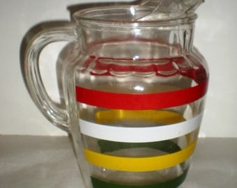 Sale! Vintage Striped Glass Pitcher - 1950's