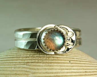 Sterling Labradorite Ring, Silver Crescent Watchman, Natural Stone, Boho Jewelry, made to order