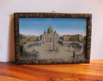 Vintage Reverse Painting on Glass/ Vatican City/ Souvenir/ Rome/ Pope