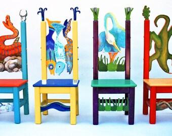 Kid's Furniture! Whimsical Children's Table & 4 Chair Set   Bird Lizard Snake FIsh