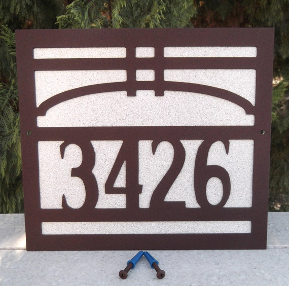 Arts and craft address sign bungalow house by michaelsmetalart for Bungalow house numbers