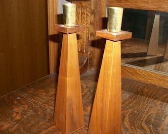Pair of Wood Danish Modern Candlesticks by Kustom Kraft
