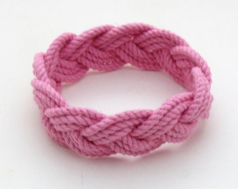 Sailor Knot Bracelet Woven from Pink Cotton