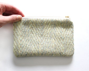 Herringbone fabric zippered pouch, organic zipper
