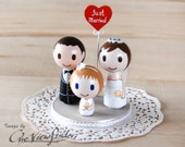 2.5 inches Customise Wedding Cake Topper with Heart Message and flower girl or with 1 child