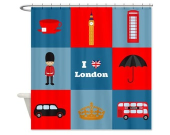 London Square Kids Shower Curtain - Perfect for a Child's Bathroom, UK, Map, London Icons