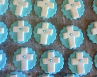 36 Baptism fondant crosses with pearls
