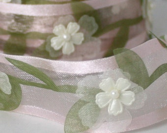 """Pink Floral & Pearl Ribbon, 1"""" wide by the yard, Pink Ribbon, Sewing, Baby Girl, Gift Wrapping, Weddings, Sewing, Bassinets, Party Supplies,"""