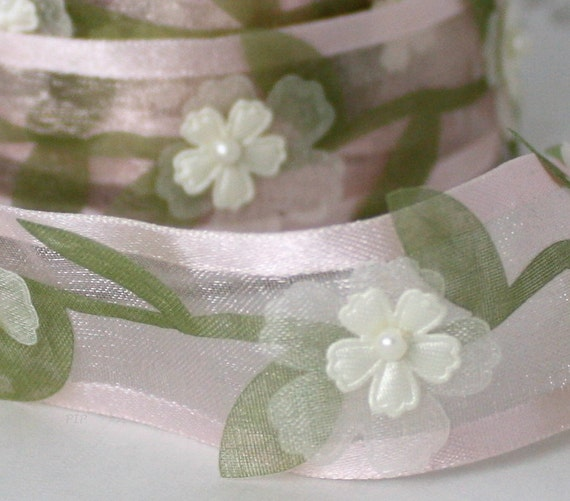 """Pink Floral Pearl Ribbon 1"""" wide Ribbon by the yard Sewing, Baby Trim, Sewing, Baby Shower, Gift Wrap, Party Supplies, Weddings, Crafts"""