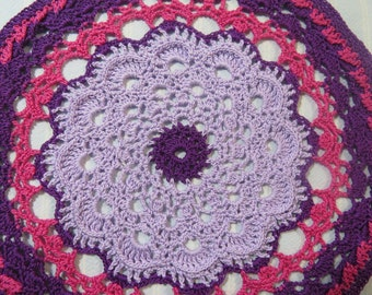 Purple Doily-9.5 inch Doily-Textured Variegated Doily-Lavender/Dark Pink Doily-Hand Crocheted Egyptian Cotton Doily-Cindy's Loft