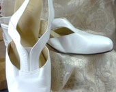 white unusual t-strap low heeled pumps by celebrity made in canada