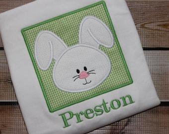 Personalized Easter Bunny Shirt Boy Green ~ Bunny Shirt ~ Easter Shirt ~ Rabbit
