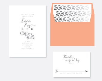 Arrow Wedding Invitation, Rustic Wedding Invitation, Script Wedding Invitation, Modern Wedding Invitation, Vintage Wedding Invitation