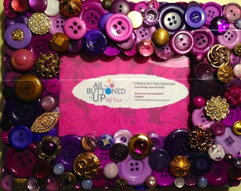 Purple and Gold Button Frame ~ Gift for Her ~ Bohemian Decor ~ Girls Bedroom Decor ~ Retro Decor ~ Shower Gift ~ Memory Frame ~ 4x6 photo