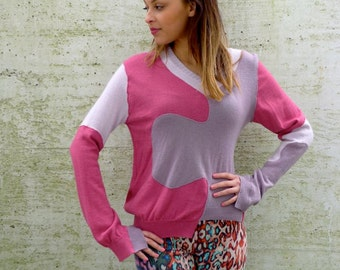 Upcycled Cashmere Sweater Jigsaw Jumper Pink Mauve Lilac                       Made in England UK
